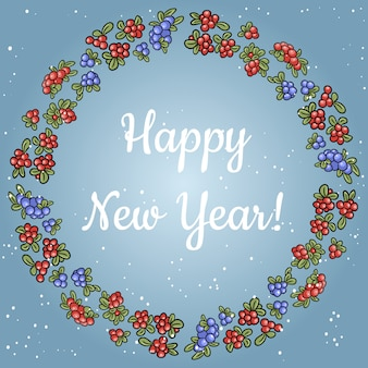 Gelukkig nieuwjaar belettering in een krans