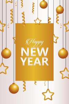 Gelukkig nieuwjaar belettering kaart met gouden slingers en ballen opknoping illustratie