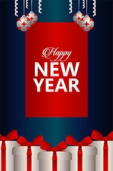 Gelukkig nieuwjaar belettering kaart met zilveren en rode ballen en geschenken illustratie