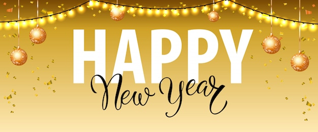 Gelukkig nieuwjaar belettering met garland lichten en snuisterijen