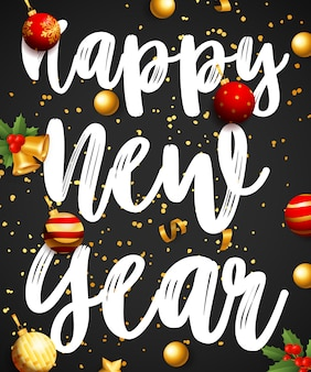 Gelukkig nieuwjaar belettering met kerstballen en klokken