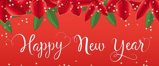 Gelukkig nieuwjaar belettering met poinsettia verlaat