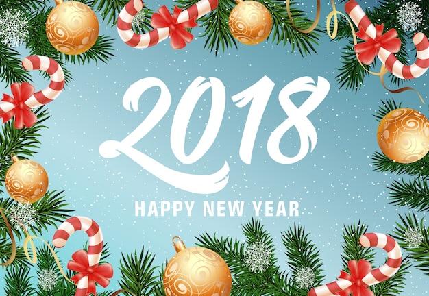 Gelukkig nieuwjaar belettering met snoep stokken