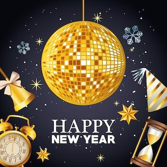 Gelukkig nieuwjaar belettering met spiegels bal disco en set viering pictogrammen illustratie