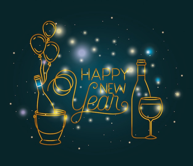 Gelukkig nieuwjaar belettering met verlichting en pictogrammen