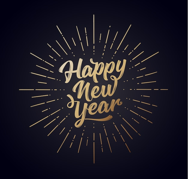 Gelukkig nieuwjaar. belettering van tekst voor happy new year of merry christmas