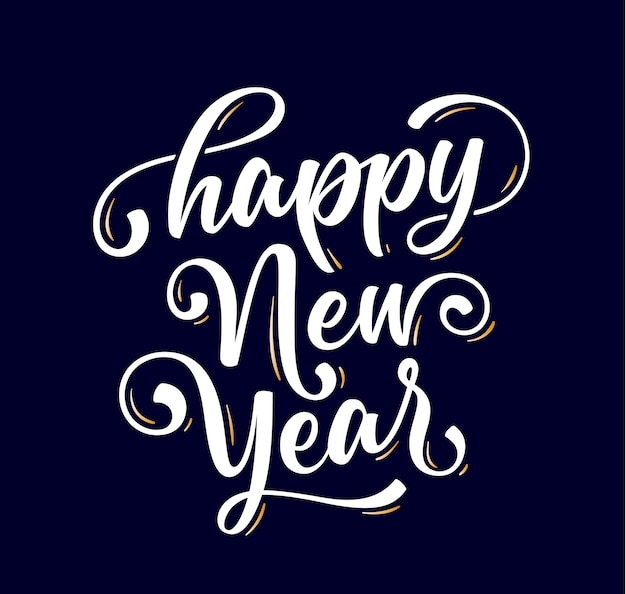 Gelukkig nieuwjaar. belettering van tekst voor happy new year
