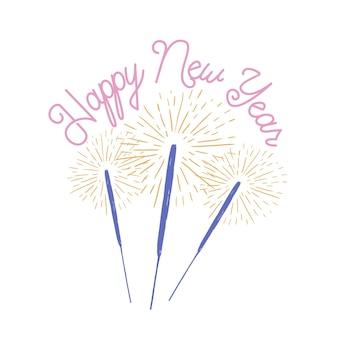Gelukkig nieuwjaar belettering versierd met brandende wonderkaarsen