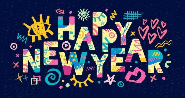 Gelukkig nieuwjaar belettering