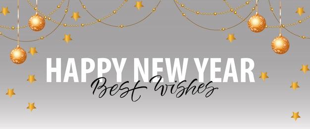 Gelukkig nieuwjaar, beste wensen belettering met decoraties