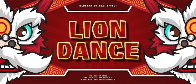Gelukkig nieuwjaar bewerkbaar teksteffect met leeuwendans karakter illustratie