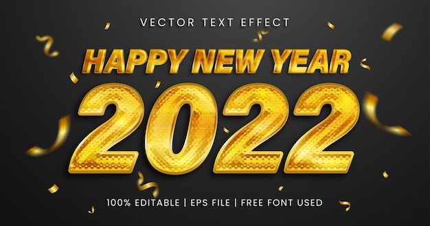 Gelukkig nieuwjaar bewerkbaar teksteffect