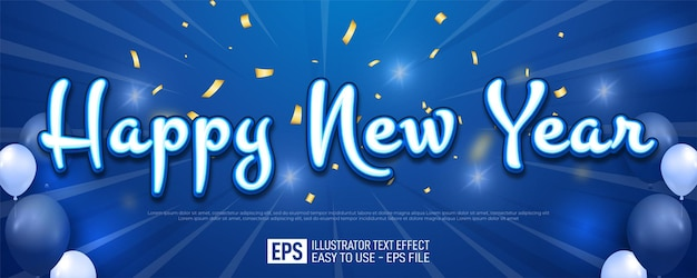 Gelukkig nieuwjaar bewerkbare tekstbanner op blauwe achtergrond