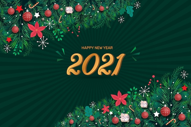Gelukkig nieuwjaar bewerkbare teksteffect groene achtergrond