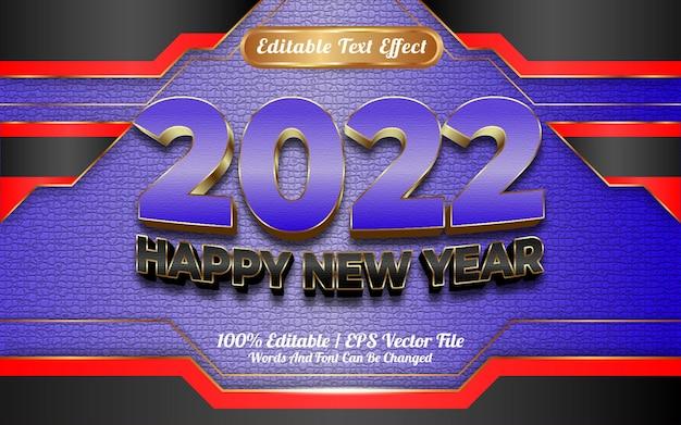 Gelukkig nieuwjaar blauw en zwart goud stijl 3d bewerkbaar teksteffect