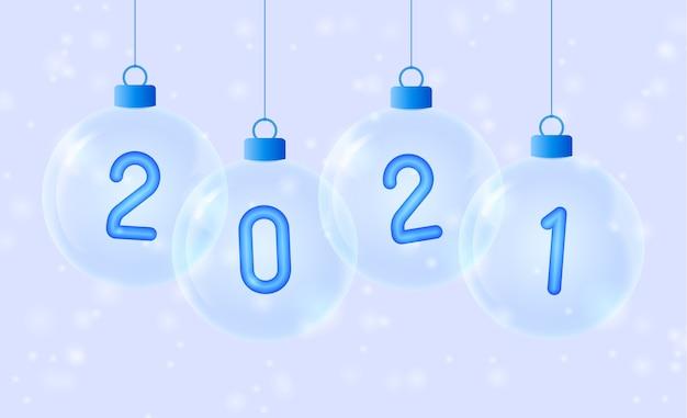 Gelukkig nieuwjaar. blauw nummer in glazen kerstbal.