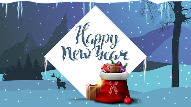 Gelukkig nieuwjaar, blauwe ansichtkaart met witte grote diamant, kerstman tas met cadeautjes en winterlandschap