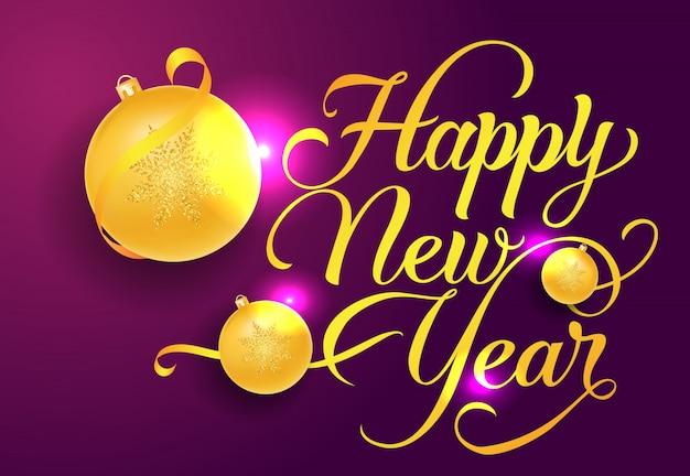 Gelukkig nieuwjaar briefkaart ontwerp. gele snuisterijen
