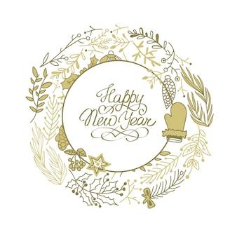 Gelukkig nieuwjaar cirkel beige krans schets compositie met prachtige cartoons van takken hand tekenen illustratie