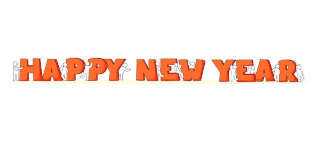 Gelukkig nieuwjaar concept. cartoon doodle illustratie met kleine mensen bereiden zich voor op feest.