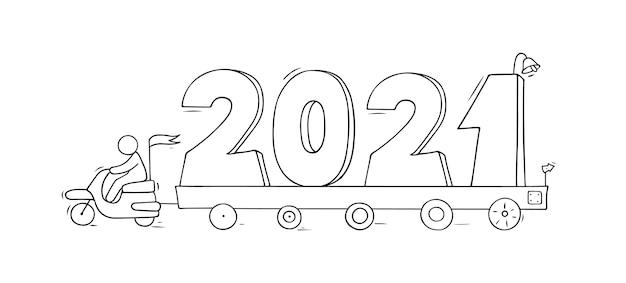 Gelukkig nieuwjaar concept met auto's. hand getekende illustratie voor kerst ontwerp.