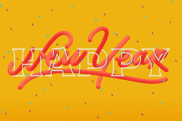 Gelukkig nieuwjaar creatieve tekst met 3d-moderne stijl