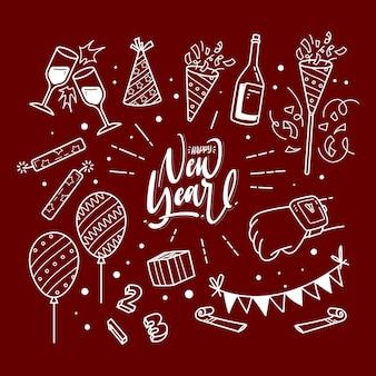 Gelukkig nieuwjaar doodle illustratie set
