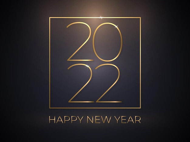 Gelukkig nieuwjaar elegante gouden tekst op gradiënt zwarte luxe achtergrond