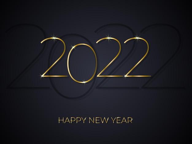 Gelukkig nieuwjaar elegante gouden tekst op zwarte achtergrond met kleurovergang