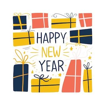 Gelukkig nieuwjaar en cadeau-bericht op sociale media
