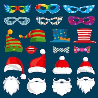 Gelukkig nieuwjaar en kerst vakantie papier photobooth rekwisieten geïsoleerd vector set