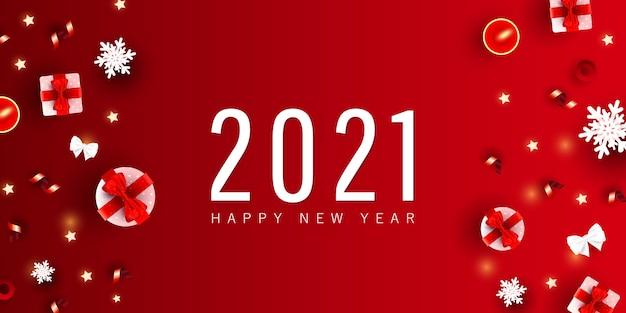 Gelukkig nieuwjaar en merry christmas minimale feestelijke banner. xmas geschenkdoos, liefdesvormen