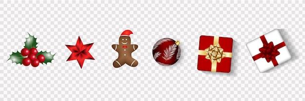 Gelukkig nieuwjaar en merry christmas realistische vector wenskaart met kerstballen