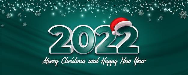 Gelukkig nieuwjaar en vrolijk kerstberichtontwerp met sneeuwvlokken en confetti achtergrondconcept