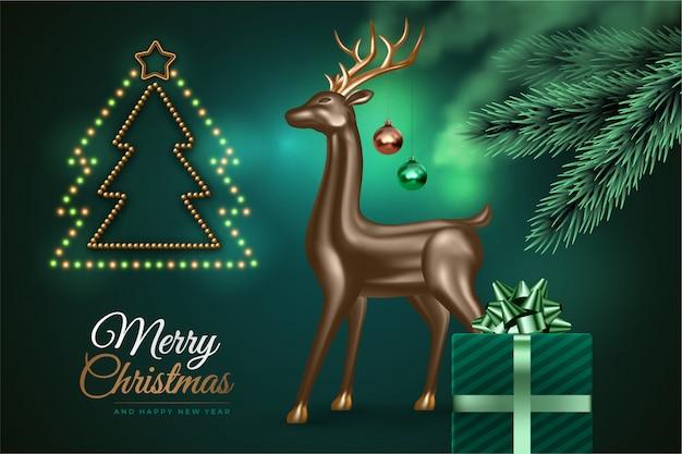 Gelukkig nieuwjaar en vrolijk kerstfeest. feestelijke groene achtergrond met kerstboom, realistische 3d-herten, cadeau.