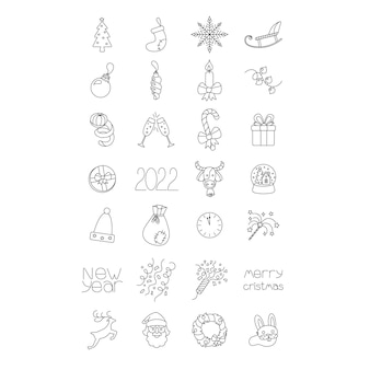 Gelukkig nieuwjaar en vrolijk kerstfeest iconen geïsoleerd vector illustratie firtree sok sneeuwvlok