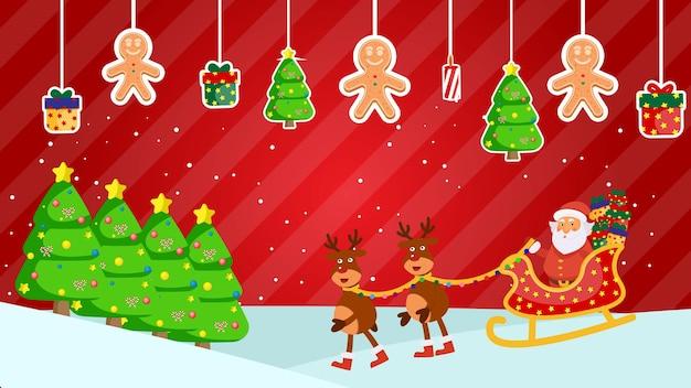Gelukkig nieuwjaar en vrolijk kerstfeest santa claus herten wenskaart kerstboom cadeau kleurrijk