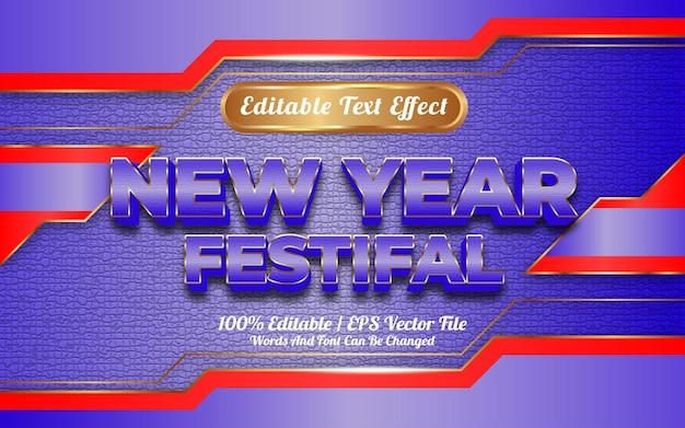 Gelukkig nieuwjaar festival bewerkbaar teksteffect