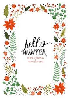 Gelukkig nieuwjaar frame. hallo winter.