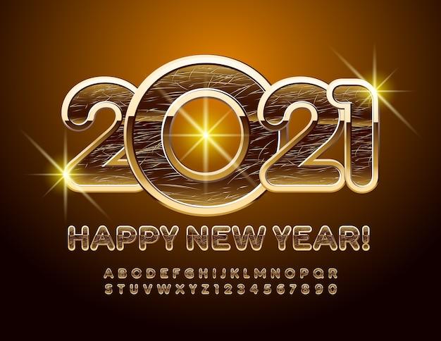 Gelukkig nieuwjaar! gekraste elite lettertype. grunge gouden alfabetletters en cijfers ingesteld
