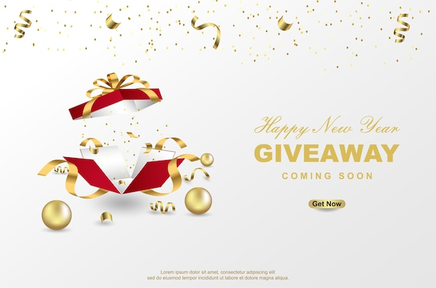 Gelukkig nieuwjaar giveaway met open geschenkdoos op witte achtergrond.