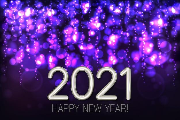Gelukkig nieuwjaar glanzende achtergrond met paarse glitter en confetti.
