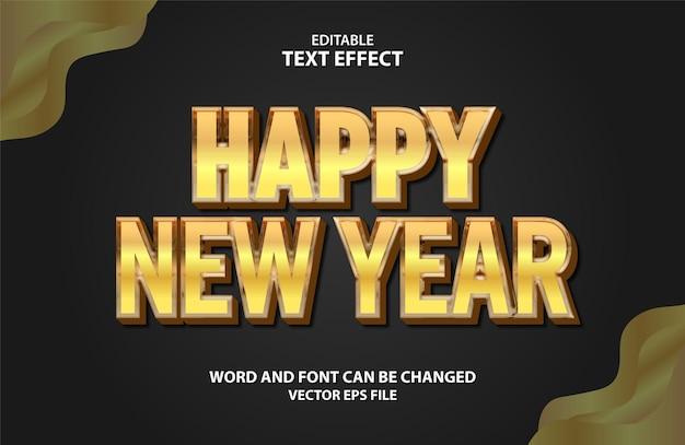Gelukkig nieuwjaar goud 3d bewerkbaar teksteffect