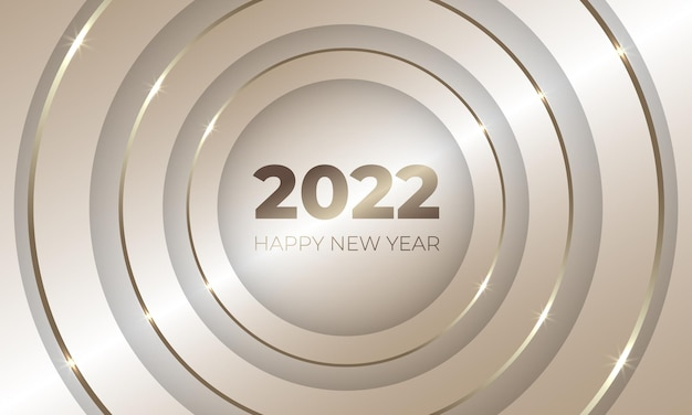 Gelukkig nieuwjaar gouden luxe vakantie achtergrond met gouden cirkels