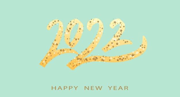 Gelukkig nieuwjaar gouden tekst met heldere fonkelingen op groene achtergrond
