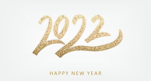 Gelukkig nieuwjaar gouden tekst met heldere fonkelingen op witte achtergrond poster