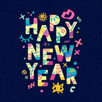 Gelukkig nieuwjaar groet ontwerp