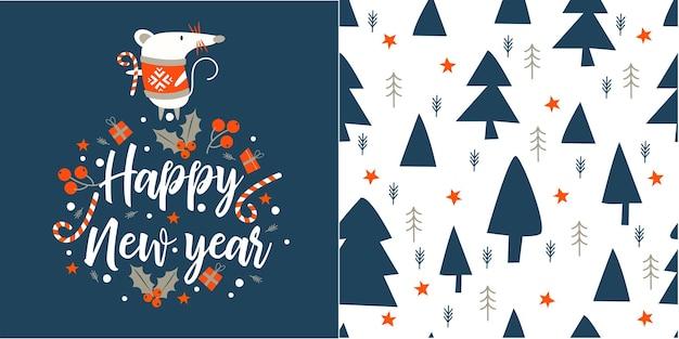 Gelukkig nieuwjaar. groet vector kaart. een witte muis in een warme trui. naadloze patroon. blauwe kerstbomen op een witte achtergrond.