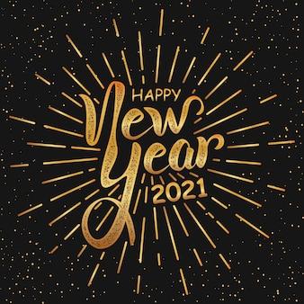 Gelukkig nieuwjaar handlettering in zwart en goud retro stijl.