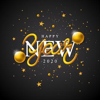 Gelukkig nieuwjaar illustratie met 3d-typografie belettering en vallende confetti